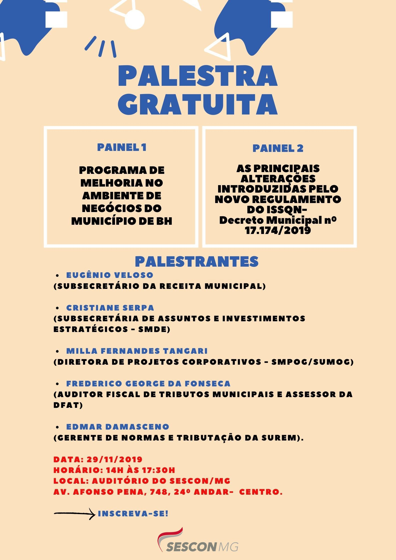 SECRETARIA MUNICIPAL DA FAZENDA REALIZA PALESTRAS GRATUITAS NO SESCONMG